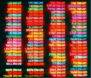 Bruce Nauman, One hundred Live and Die (Cento volte vivere e morire), 1984 -  http://artesatura.altervista.org/bruce-nauman-linguaggio-neon-art/
